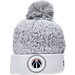 Front view of New Era Washington Wizards NBA On Court Collection Pom Knit Hat in White
