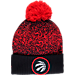 Front view of New Era Toronto Raptors NBA On Court Collection Pom Knit Hat in Team Colors