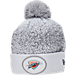 Front view of New Era Oklahoma City Thunder NBA On Court Collection Pom Knit Hat in White