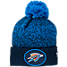 Front view of New Era Oklahoma City Thunder NBA On Court Collection Pom Knit Hat in Team Colors