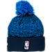 Back view of New Era Oklahoma City Thunder NBA On Court Collection Pom Knit Hat in Team Colors