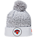 Front view of New Era New York Knicks NBA On Court Collection Pom Knit Hat in White