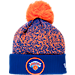 Front view of New Era New York Knicks NBA On Court Collection Pom Knit Hat in Team Colors