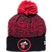 Front view of New Era Miami Heat NBA On Court Collection Pom Knit Hat in Team Colors