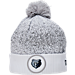 Front view of New Era Memphis Grizzlies NBA On Court Collection Pom Knit Hat in White