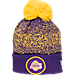 Front view of New Era Los Angeles Lakers NBA On Court Collection Pom Knit Hat in Team Colors