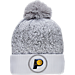 Front view of New Era Indiana Pacers NBA On Court Collection Pom Knit Hat in White
