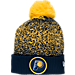 Front view of New Era Indiana Pacers NBA On Court Collection Pom Knit Hat in Team Colors