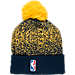 Back view of New Era Indiana Pacers NBA On Court Collection Pom Knit Hat in Team Colors