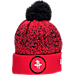 Front view of New Era Houston Rockets NBA On Court Collection Pom Knit Hat in Team Colors