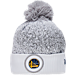 Front view of New Era Golden State Warriors NBA On Court Collection Pom Knit Hat in White