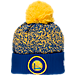 Front view of New Era Golden State Warriors NBA On Court Collection Pom Knit Hat in Team Colors