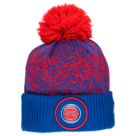 New Era Detroit Pistons NBA On Court Collection Pom Knit Hat
