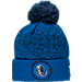 Front view of New Era Dallas Mavericks NBA On Court Collection Pom Knit Hat in Team Colors