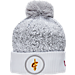 Front view of New Era Cleveland Cavaliers NBA On Court Collection Pom Knit Hat in White