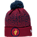 Front view of New Era Cleveland Cavaliers NBA On Court Collection Pom Knit Hat in Team Colors