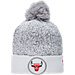 Front view of New Era Chicago Bulls NBA On Court Collection Pom Knit Hat in White