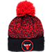 Front view of New Era Chicago Bulls NBA On Court Collection Pom Knit Hat in Team Colors