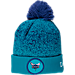 Front view of New Era Charlotte Hornets NBA On Court Collection Pom Knit Hat in Team Colors