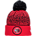 Front view of New Era Atlanta Hawks NBA On Court Collection Pom Knit Hat in Team Colors