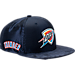 Front view of New Era Oklahoma City Thunder NBA 2017 Draft Official On Court Collection 9FIFTY Snapback Hat in Team Colors