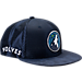 Front view of New Era Minnesota Timberwolves NBA 2017 Draft Official On Court Collection 9FIFTY Snapback Hat in Team Colors