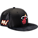 Front view of New Era Miami Heat NBA 2017 Draft Official On Court Collection 9FIFTY Snapback Hat in Team Colors