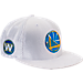 Front view of New Era Golden State Warriors NBA 2017 Draft Official On Court Collection 9FIFTY Snapback Hat in White