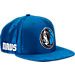 Front view of New Era Dallas Mavericks NBA 2017 Draft Official On Court Collection 9FIFTY Snapback Hat in Team Colors