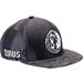 Front view of New Era Dallas Mavericks NBA 2017 Draft Official On Court Collection 9FIFTY Snapback Hat in Graphite/Silver