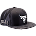 Front view of New Era Chicago Bulls NBA 2017 Draft Official On Court Collection 9FIFTY Snapback Hat in Graphite/Silver