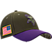 Front view of New Era Minnesota Vikings NFL Salute To Service 39THIRTY Fitted Hat in Team Colors/Camo