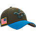 Front view of New Era Detroit Lions NFL Salute To Service 39THIRTY Fitted Hat in Team Colors/Camo
