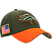 Front view of New Era Denver Broncos NFL Salute To Service 39THIRTY Fitted Hat in Team Colors/Camo
