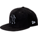 Front view of New Era New York Yankees MLB Interlace Snapback Hat in Black