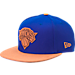 Front view of New Era New York Knicks NBA Leather Patch Adjustable Hat in Team Colors