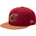 Front view of New Era Cleveland Cavaliers NBA Leather Patch Adjustable Hat in Team Colors