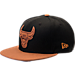 Front view of New Era Chicago Bulls NBA Leather Patch Adjustable Hat in Team Colors
