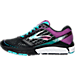 Left view of Women's Brooks Ghost 9 Running Shoes in Black/Sparkling Grape/Ceramic