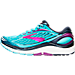 Left view of Women's Brooks Transcend 4 Running Shoes in Bluefish/Peacoat/Purple Cactus