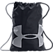 Front view of Under Armour Ozsee Gymsack in Black/Grey