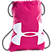 Front view of Under Armour Ozsee Gymsack in Pink/Black