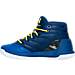 Left view of Boys' Grade School Under Armour Curry 3 Basketball Shoes in Team Royal/Caspian/Taxi