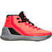 Right view of Boys' Grade School Under Armour Curry 3 Basketball Shoes in Bolt Orange/Steel/Black