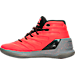 Left view of Boys' Grade School Under Armour Curry 3 Basketball Shoes in Bolt Orange/Steel/Black
