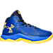 Right view of Boys' Grade School Under Armour Curry 2.5 Basketball Shoes in Blue/Gold - Away