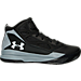 Right view of Boys' Grade School Under Armour Jet Mid Basketball Shoes in Black/Grey