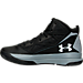 Left view of Boys' Grade School Under Armour Jet Mid Basketball Shoes in Black/Grey