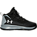 Right view of Boys' Preschool Under Armour Jet Basketball Shoes in Black/Steel/White