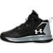 Left view of Boys' Preschool Under Armour Jet Basketball Shoes in Black/Steel/White